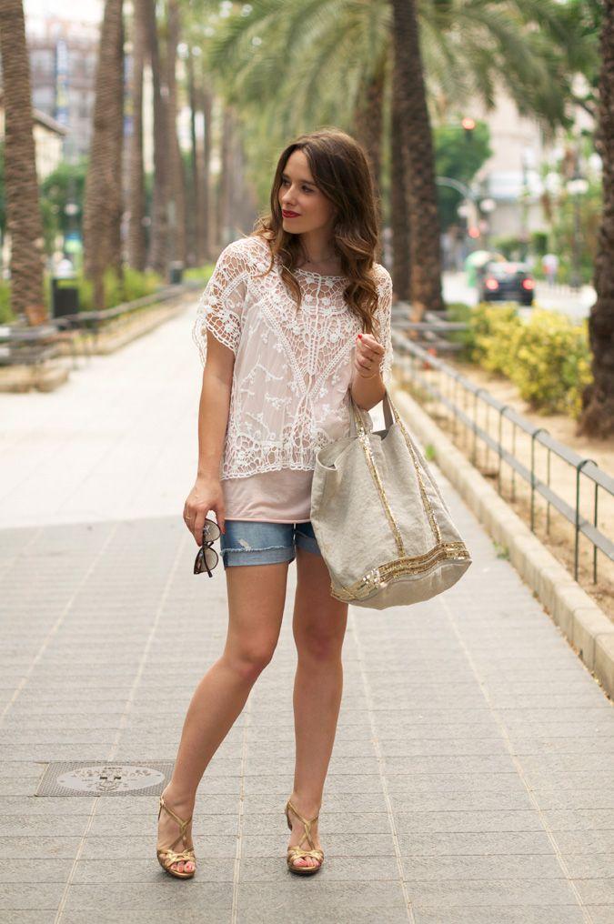 #fashion #fashionista @Macarena Ruiz Mackay gea  photo vanessa_bruno_cabas-bag-lace_top-denim_shorts-street_style-outfit-2_zps7e9ae453.jpg