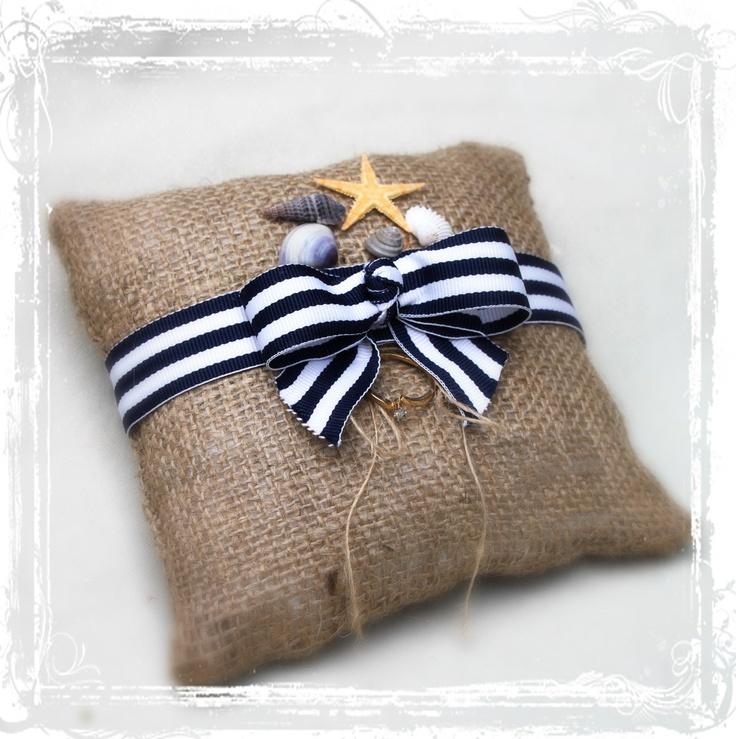 Nautical Bulap Ring Bearer Pillow on Etsy. Cute. Ring Bearer Ideas Pinterest Ring bearer ...