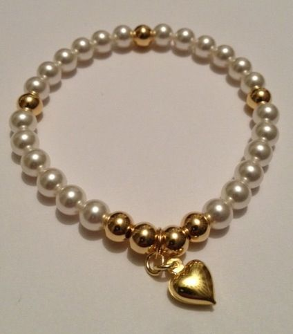 Stunning bracelet handmade by Hannah at Blue Apple Jewellery White Swarovski Crystal Pearls & Vermeil Gold. Fashionable, sparkling & perfect for stacking & collecting. www.blueapplejewellery.com