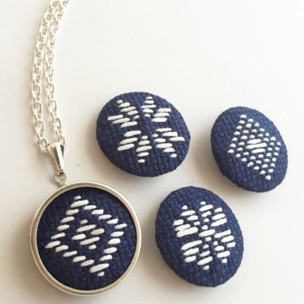 ....and here's the mesmerizing DIY Japanese Kogin Embroidery pendant kit! Aren't…