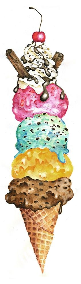 Don't you just LOVE ice cream? by Lisa Buckridge watercolour aquarelle glace crème glacée