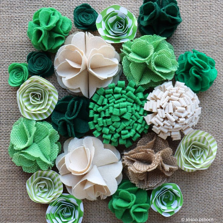 St. Patrick's Day flowers made with @canvascorpbrand  fabrics and papers.