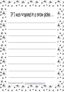 Trapped in a Snow Globe Writing Template  This freebie was created to be used with The Snow Globe Familyby Jane O'Connor but can be used as a stand alone activity as well.  click on image to go to freebie  This includes a page with a writing prompt an extra page for those who need more lines and a modified page for those students that need more assistance to complete the assignment.  freebie winter themed activities writing template