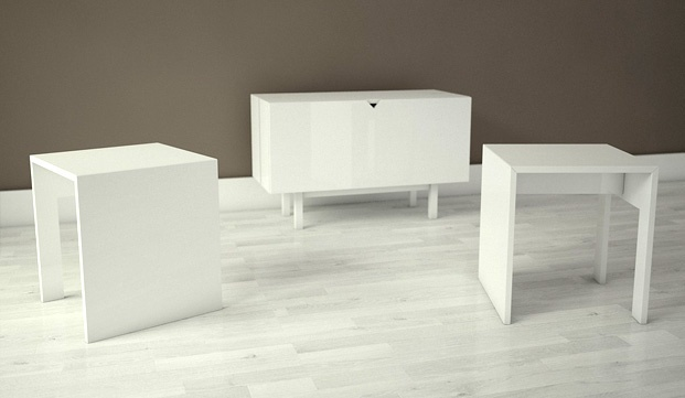 A dresser that transforms into two seats and a coffee table!