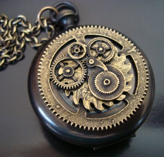 Steampunk Jewelry, Geared Pocket Watch Locket, Nice Vintage Ox Patina, Quality USA Locket, 32 Inch Brass ox Chain on Etsy, $36.00