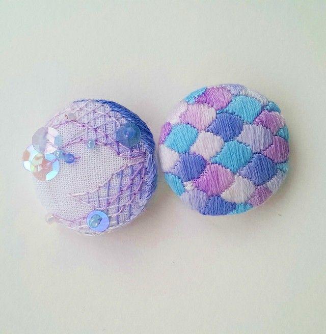 金魚刺繍ブローチ【紫陽花】