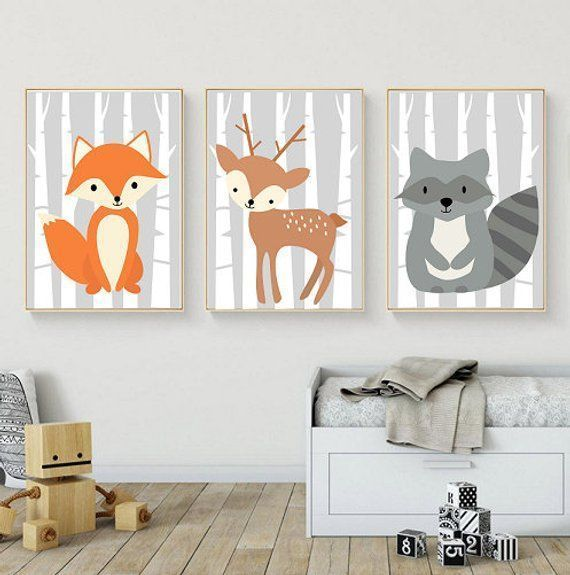 Waldtiere, Wandbilder für Kinderzimmer, Kinderzimmer