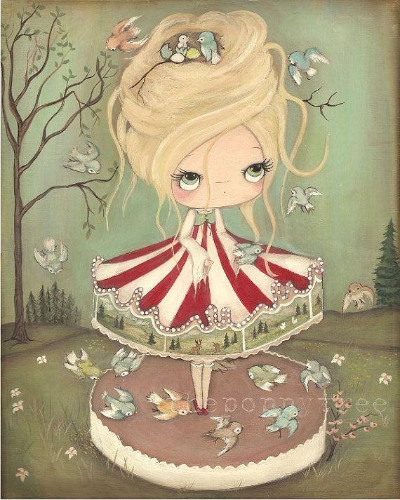 Carousel Art Print Merry Go Round Bird Carnival Girl Wall Art