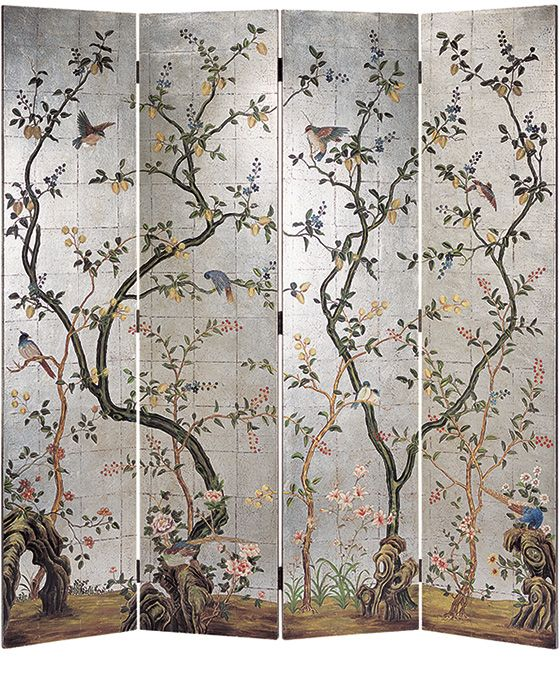 Folding screens - decorative silver leaf folding screen with hand painted flowers