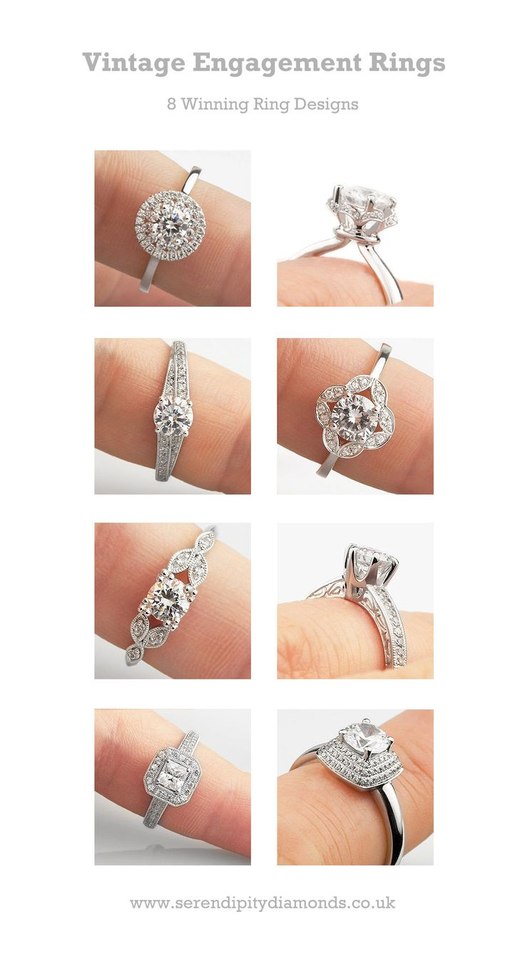 A Collection Of 8 X Winning #vintage Engagement Rings Featuring Beautiful  And Elegant Styling Details