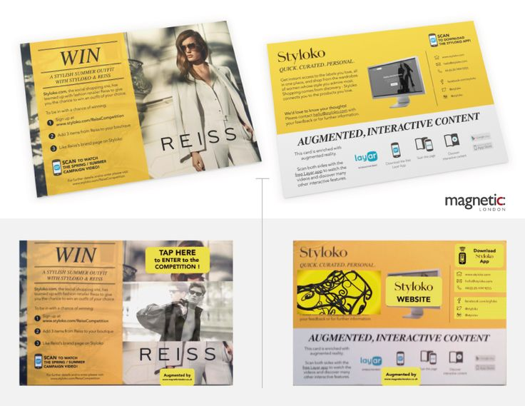 @magneticlondon created augmented leaflets for the personal shopping site, Styloko in their partnership with Reiss using @Layar