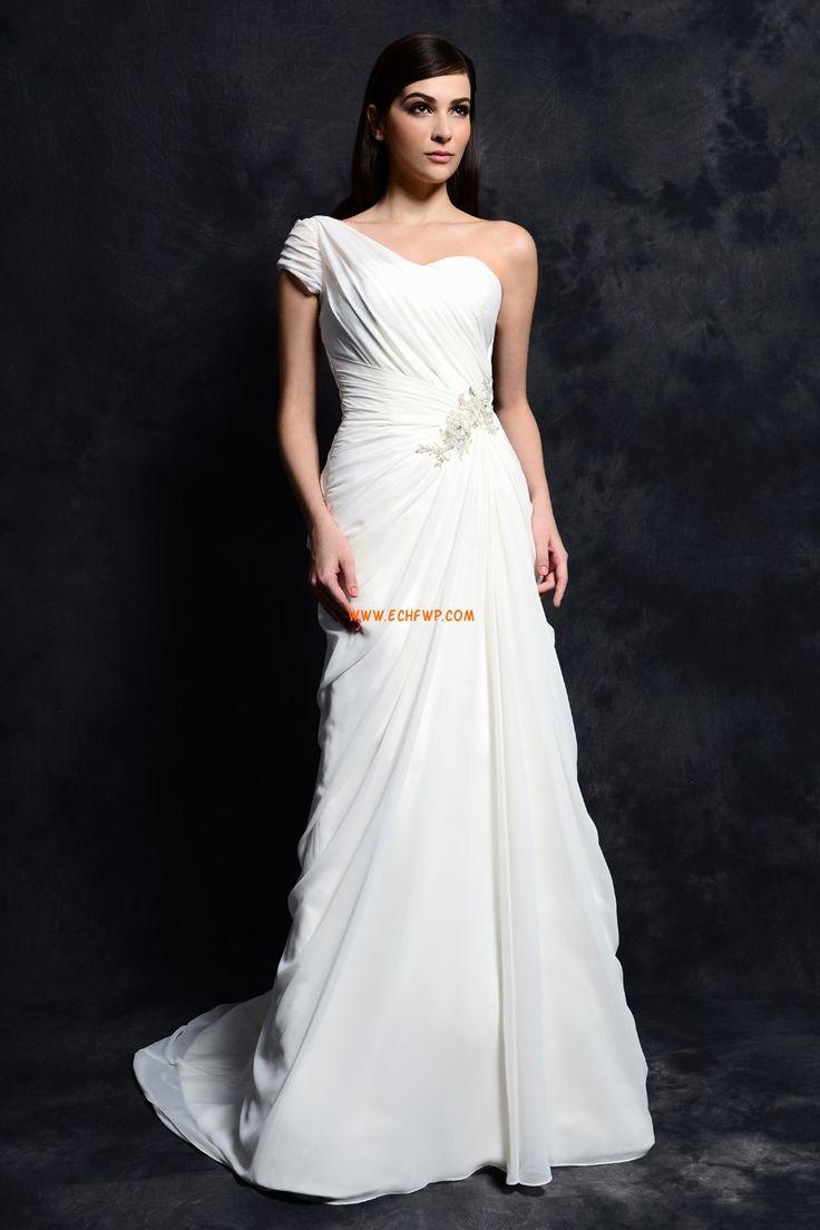 Traîne moyenne Épaule asymétrique Bonnet Robes de mariée 2014