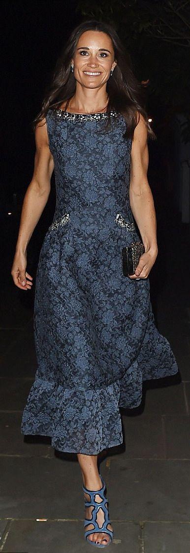 Pippa Middleton wore Erdem Heta organza-cloqué dress http://www.dailymail.co.uk/femail/article-4474774/Pippa-Middleton-shows-muscular-arms.html  https://www.popsugar.com/fashion/Pippa-Middleton-Floral-Erdem-Dress-43504056#photo-43504062
