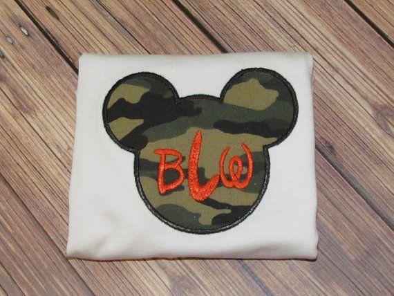 Boys Personalized Camo Mickey Mouse Disney Vacation Applique Shirt FREE MONOGRAM