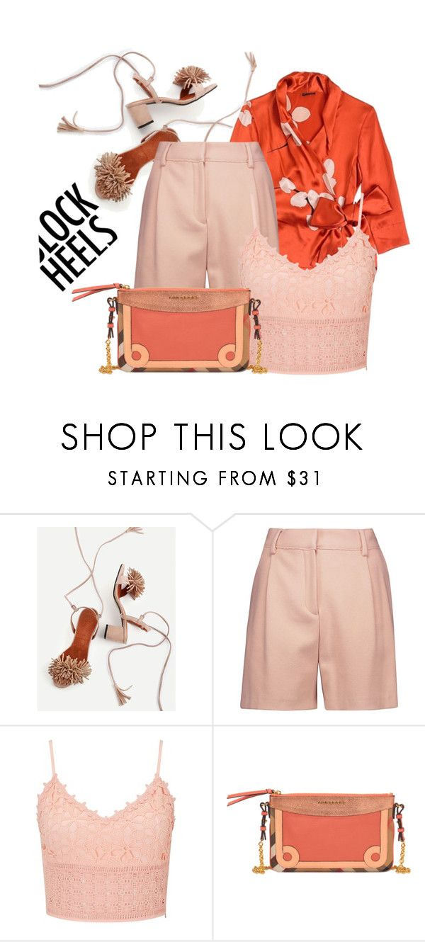 """""""Orange Blush"""" by interesting-times ❤ liked on Polyvore featuring Carla Zampatti, McQ by Alexander McQueen, Miss Selfridge, Burberry and blockheels"""