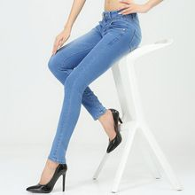 Women jeans 2014 new autumn winter leisure fashion show thin elastic street style cotton young blue denim women long pants jeans(China (Mainland))