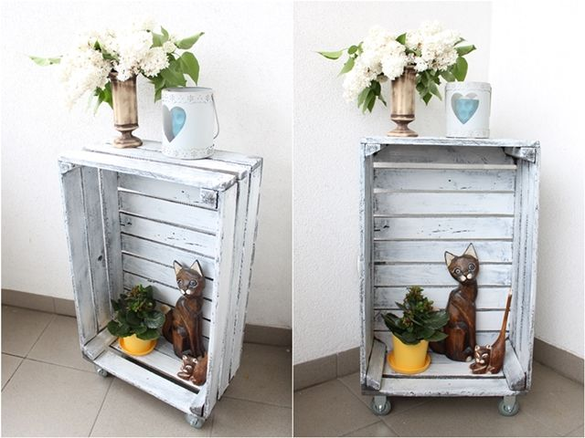 DIY, skrzynka jako stolik, box after the fruit,