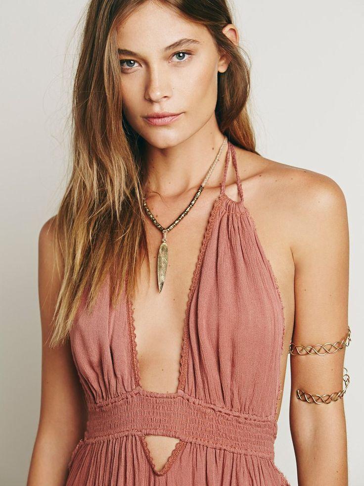 new cotton long dress halter backless summer dress bohemian beach maxi dresses V-neck loose slim boho holiday dresses-Dress-SheSimplyShops