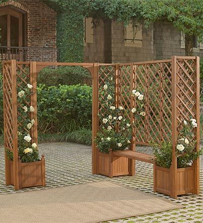 planters, benches and trellises