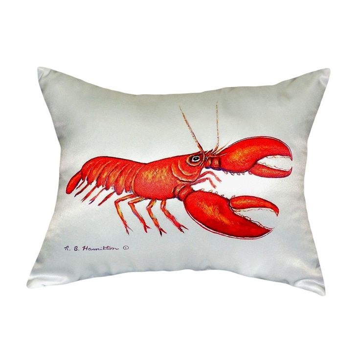 Betsy Drake Red Lobster No Cord Throw Pillow