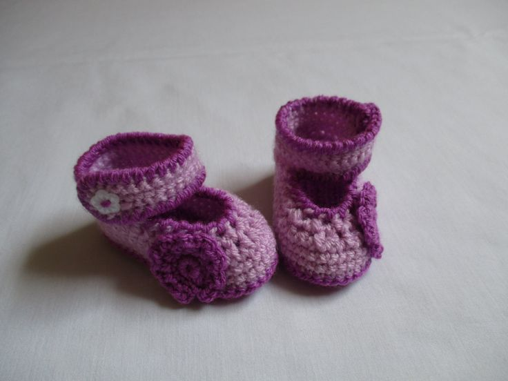Purple Crochet Baby Girl Booties With Side Straps and Flower Buttons by ZsuzsaBoutique on Etsy