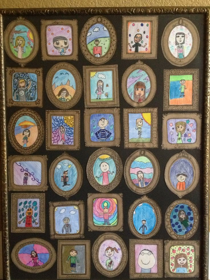 framed self portraits of my son's class for the school auction - we made the…