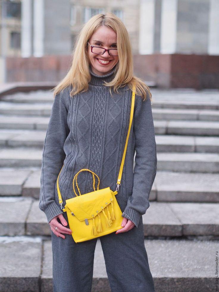 Купить Spring melody. Желтая Кожаная сумочка через плечо. - сумочка через плечо
