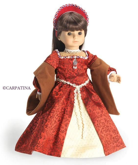 "Doll Clothes 18/"" Dress Renaissance Deep Red Carpatina Fits American Girl Dolls"