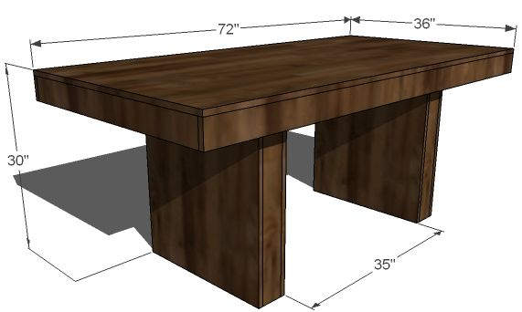 Modern Dining Table (West Elm Terra) | Ana White... love this plan, thinking we could use planks on top instead of plywood (somehow).  similar plans for benches.