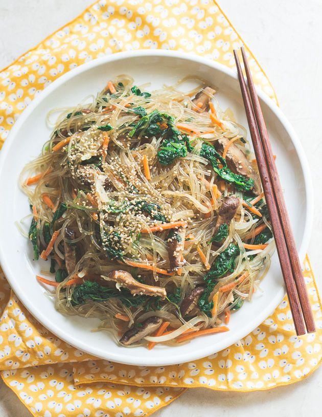 Vegetarian Japchae (Korean Stir-Fried Sweet Potato Noodles)