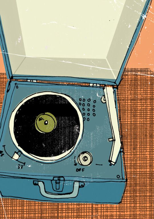 Record Player Series By Kavel Rafferty Vinyl Records In Illustrations Portable