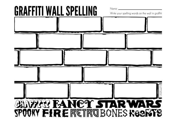 spelling activities graffiti wall free spelling printable learning is fun spelling homework. Black Bedroom Furniture Sets. Home Design Ideas