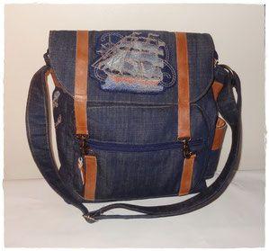 besace homme / sac à bandoulière jean et cuir
