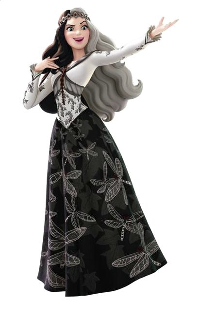 Princess Ivy is the titular main antagonist of the Sofia the First special The Curse of Princess Ivy. She is an evil princess from a far away black-and-white kingdom whose main desire is to have a kingdom of her very own. Ivy has her own black and white magic to create black and white butterflies that, upon touching something, drain all its colors, leaving it black, white and gray. However, her main weapon is her ability to create dragonflies. These bugs can take away memories by circling...