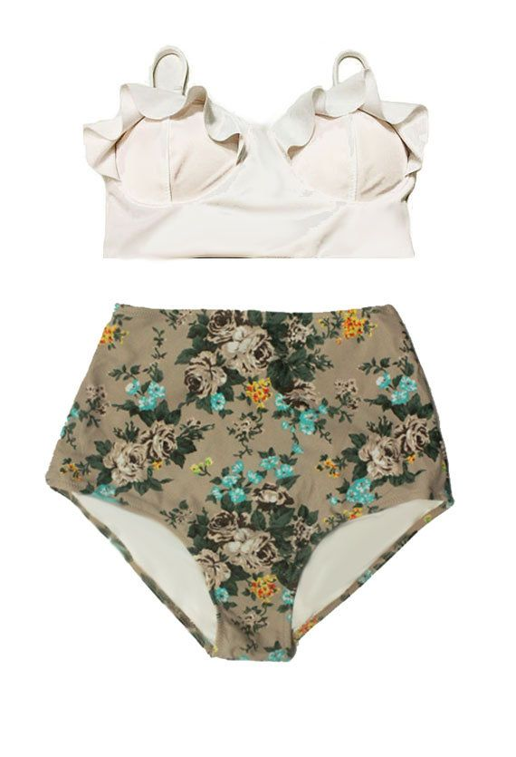 White Midkini Top and Cream Rose High Waisted Highwaisted Bottom Cheap Woman Women Swimsuit Swimwear Bikini set sets Bathing suit S M L XL