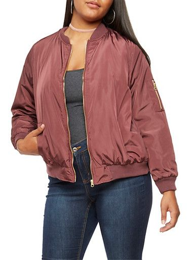 Plus Size Zip Up Bomber Jacket,BURGUNDY