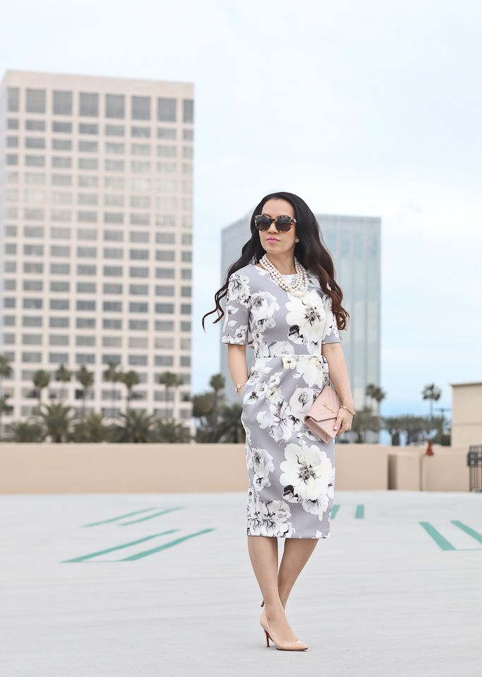 ASOS PETITE Smart Dress with V Back in Gray Floral Print, louboutin pigalle nude pumps, Saint Laurent YSL blush wallet on chain