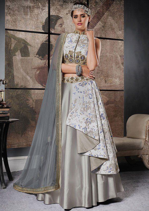 249db8bc93 Silver and Ash Grey Designer Lehenga Choli in 2019   Lehenga Choli ...