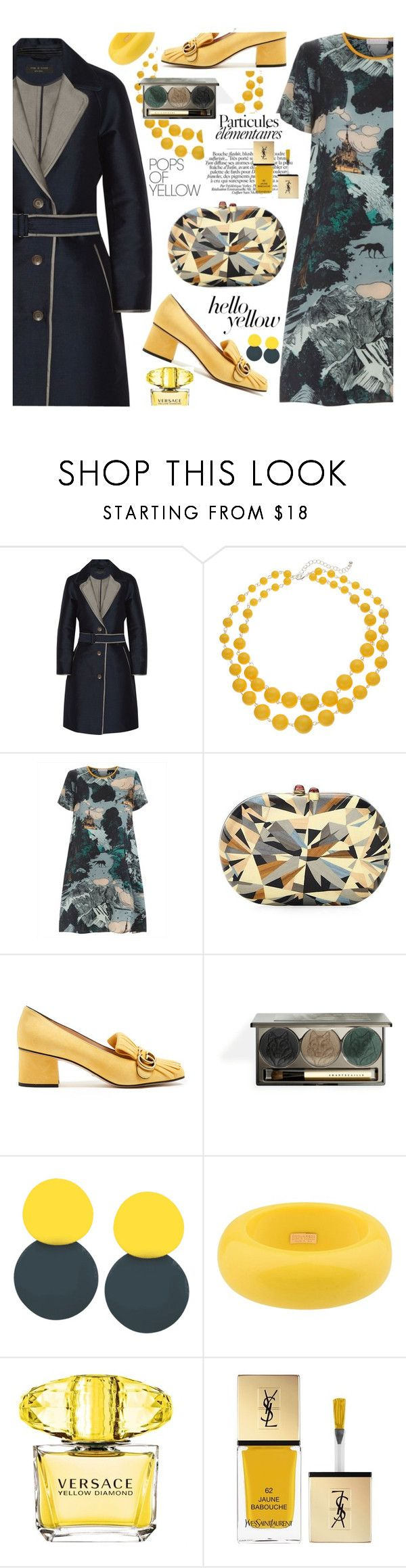 """""""Get Happy, Get the Look!"""" by esch103 on Polyvore featuring rag & bone, Silvia Furmanovich, Gucci, Dsquared2, Versace, Yves Saint Laurent, PopsOfYellow and NYFWYellow"""