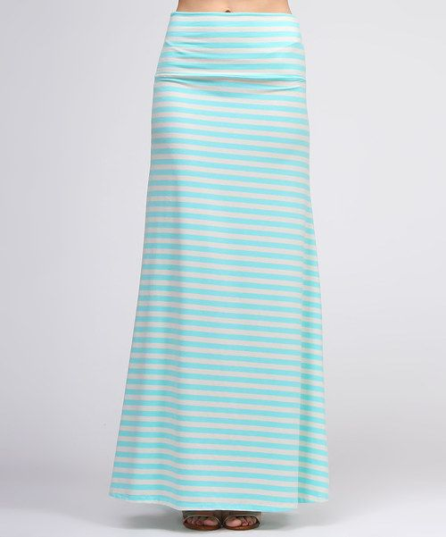 Take a look at the BOLD & BEAUTIFUL White & Mint Stripe Maxi Skirt on #zulily today!