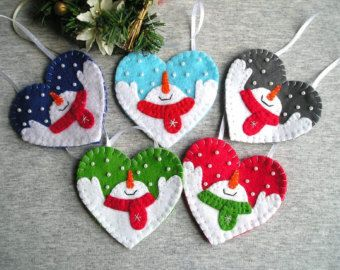Ornamenti di Natale feltro set pupazzo di neve di 3 di feltgofen