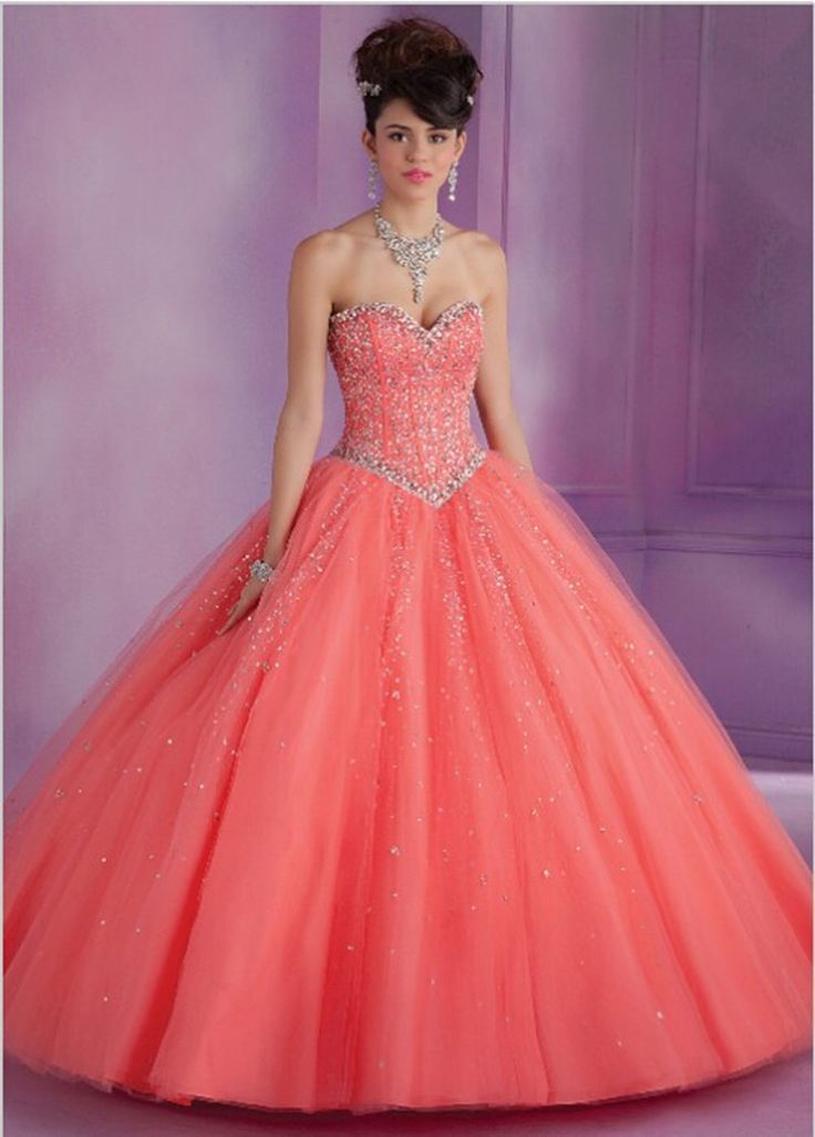 2016 Coral Blue Pink Party Quinceanera Dresses 15 Years Ruffled Tulle Sweethetr Bodice Bead Prom Masquerade Ball Gown Dress QR27