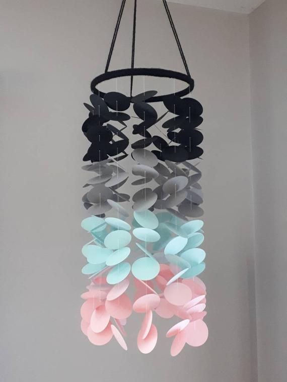 Paper Mobile Black Gray Blue Pink Noir Gris Bleu Rose Paper Mobile Baby Girl Bebe Fille Nursery Chambre Beb With Images Origami Paper Art Paper Garland Crafts