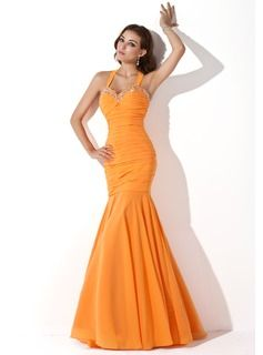 Trumpet/Mermaid Halter Floor-Length Chiffon Evening Dress With Ruffle Beading Sequins (017005814) - JJsHouse