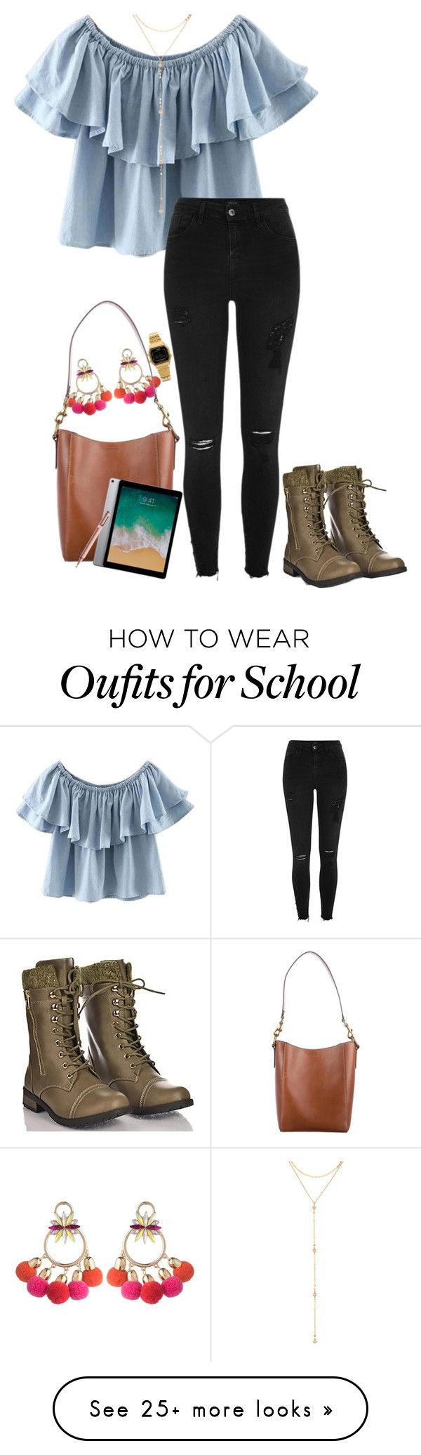 """""""School outfit"""" by lizmarie on Polyvore featuring WithChic, ABS by Allen Schwartz, Frye, Forever Link, River Island, Fragments and Casio"""