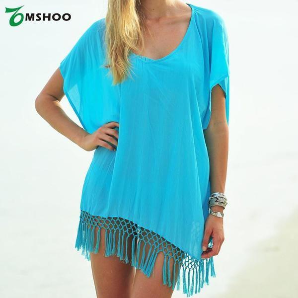 Sexy Women Chiffon Swimwear Cover Up - V-Neck - Short Sleeve - Loose Beach Dress - Swimsuit Blue
