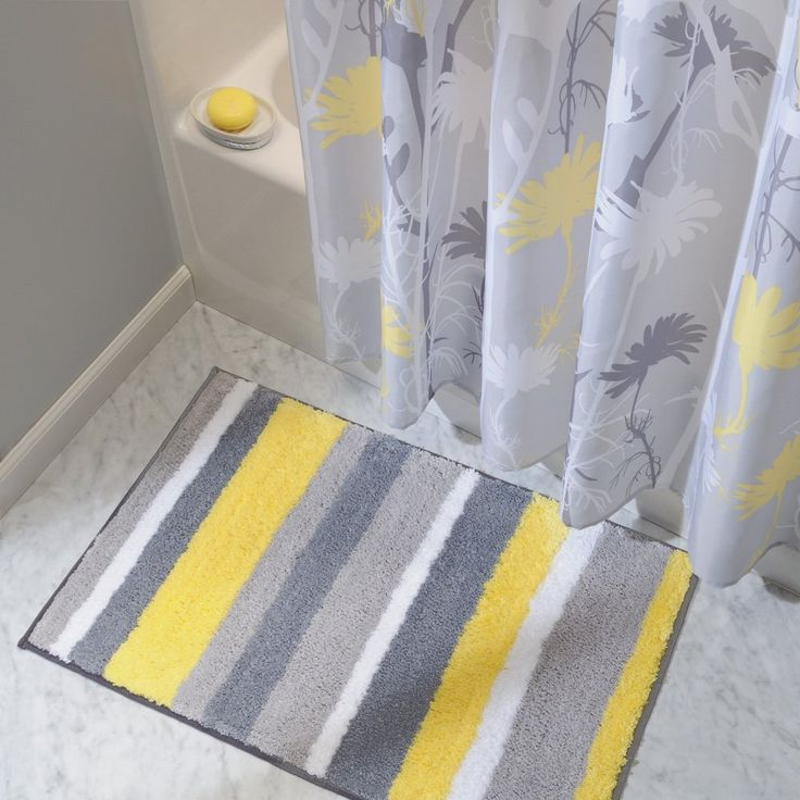 Amazon.com - InterDesign Microfiber Stripz Bathroom Shower Accent Rug, 34 x 21, Gray/Yellow - Yellow And Grey Shower Curtains