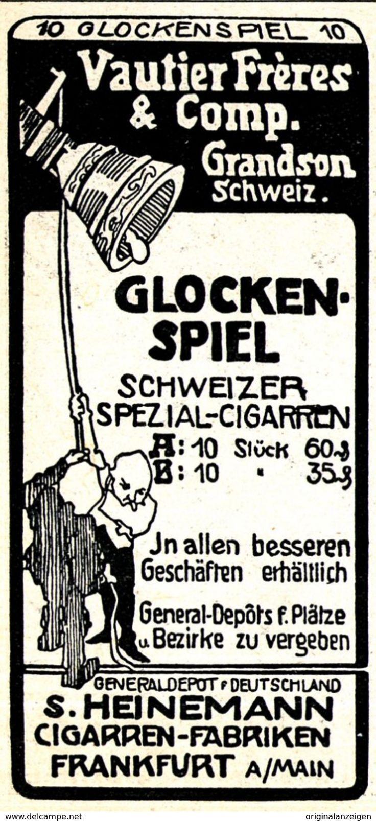 Werbung - Original-Werbung/ Anzeige 1908 - GLOCKEN-SPIEL / SCHWEIZER CIGARETTEN / HEINEMANN - FRANKFURT a.M. - ca. 45 x 90 mm