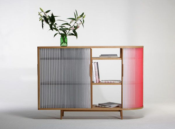 Light, Ombre Effect Plissee Sideboard by Anne Boenisch