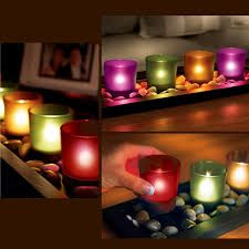 Buy Kawachi 4-piece Jewel Tone Candle Tray With Genuine River Rocks LED Residential Lighting on bdtdc.com
